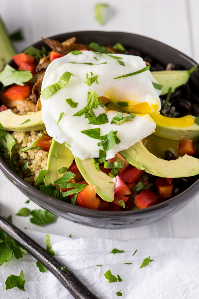 Quinoa Breakfast Bowl topped with a poached Egg
