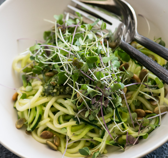 Zucchini Noodles with micro greens
