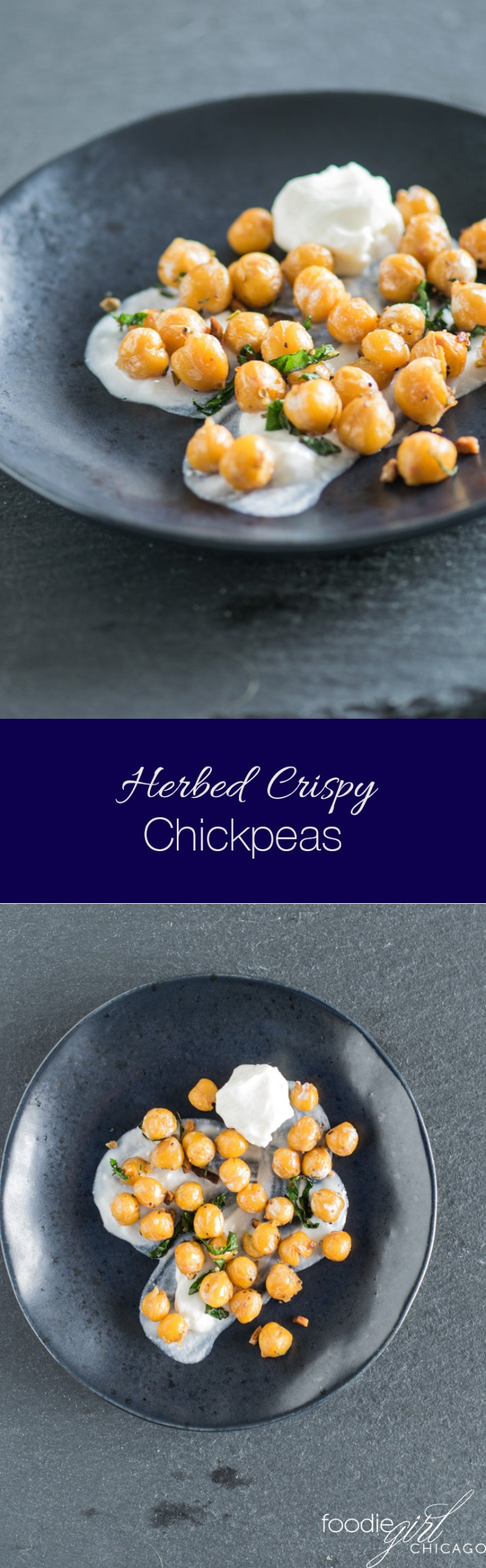 These herbed crispy chickpeas are the perfect addition to salad and sandwiches and make a great snack too!
