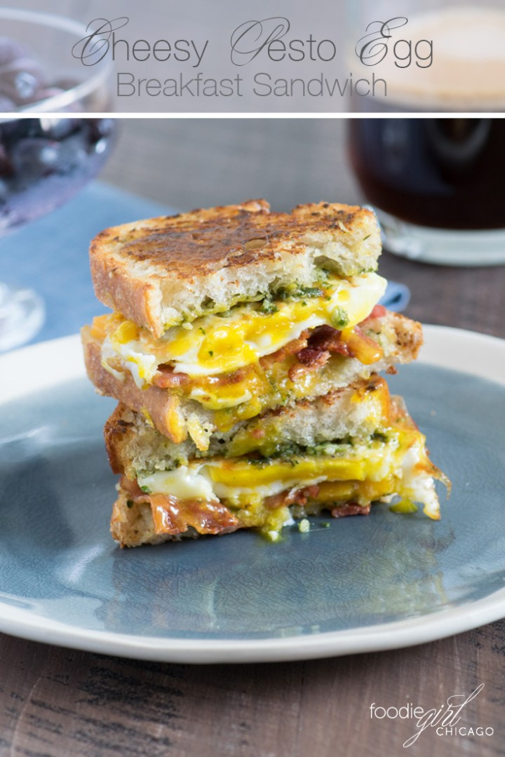 Looking for unique ideas for breakfast sandwiches? These crisp and cheesy Toasted Pesto Egg & Bacon Sandwiches create a unique twist on traditional bacon & eggs and are sure to become a morning favorite!