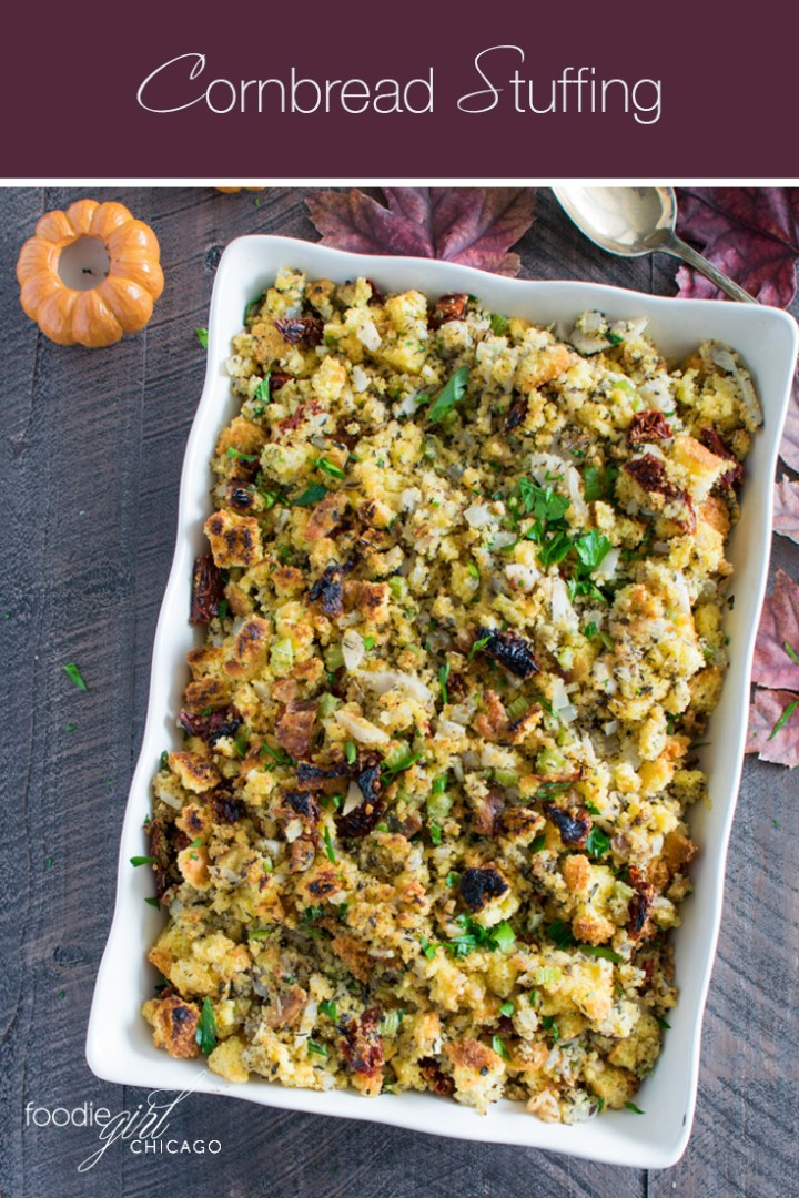 This Cornbread Stuffing puts a twist on the traditional by adding crispy pancetta and tangy sun-dried tomatoes for a delicious Thanksgiving side dish!