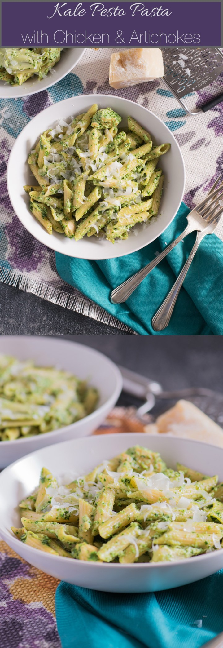 Kale Pesto Pasta with Chicken & Artichokes