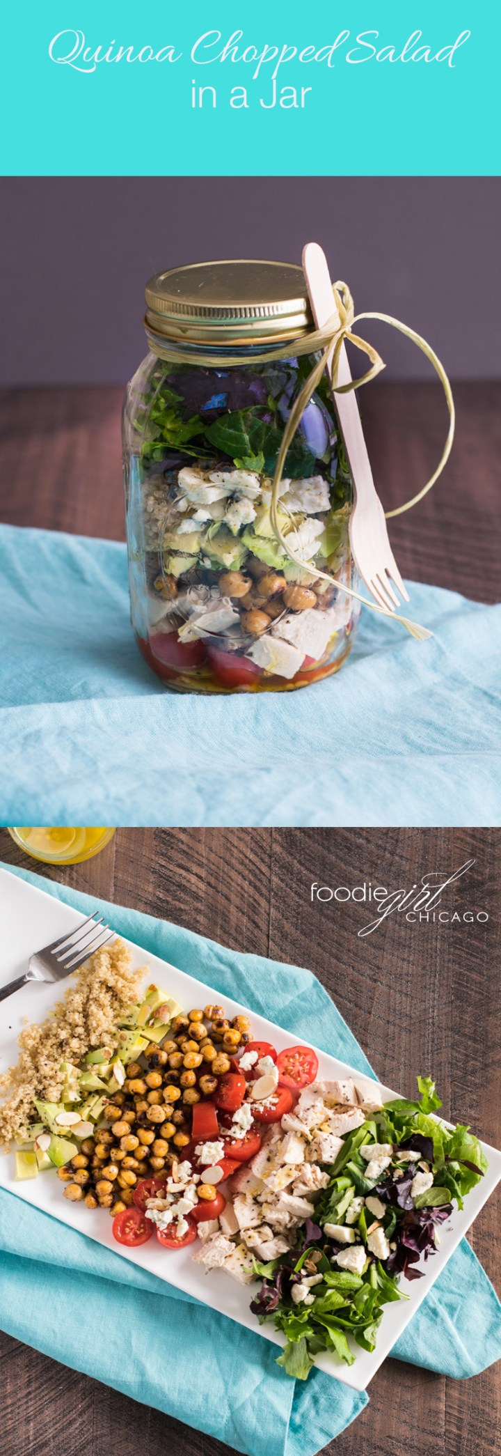 This amazing Quinoa Chopped Salad is loaded with flavor from the crispy herbed chickpeas, crunchy pancetta and my favorite champagne vinaigrette.  It's packed in a jar for an easy weekday lunch at work!