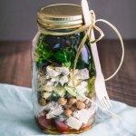 Layered salad in a mason jar