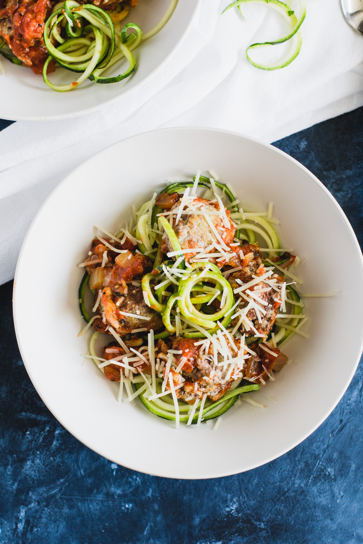 Quinoa Ricotta Meatballs with Zoodles