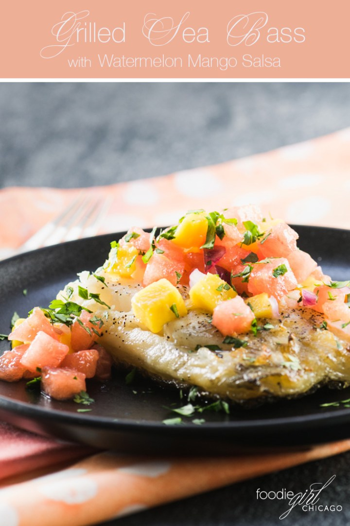 this grilled sea bass is topped with a light and refreshing watermelon and mango salsa, making it the perfect light summertime dinner!