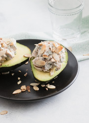 Chicken Salad Stuffed Avocados:  An Easy Packable Lunch