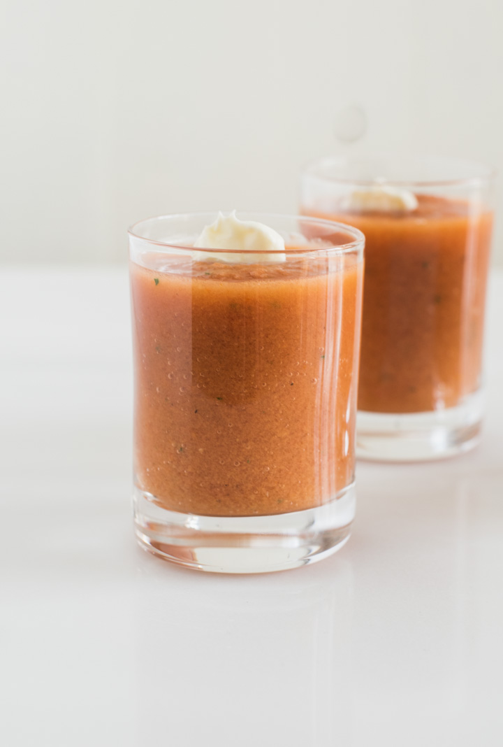 Traditional tomato gazpacho shots - ideal for entertaining.