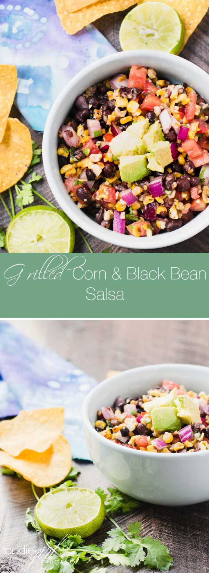 This grilled corn and black bean salsa is loaded with amazing flavors making the perfect dip for summer parties.