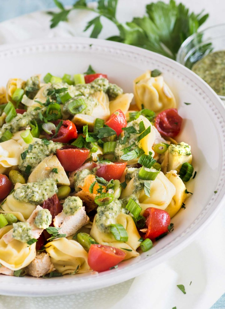 Close up of tortellini pasta salad in a white bowl