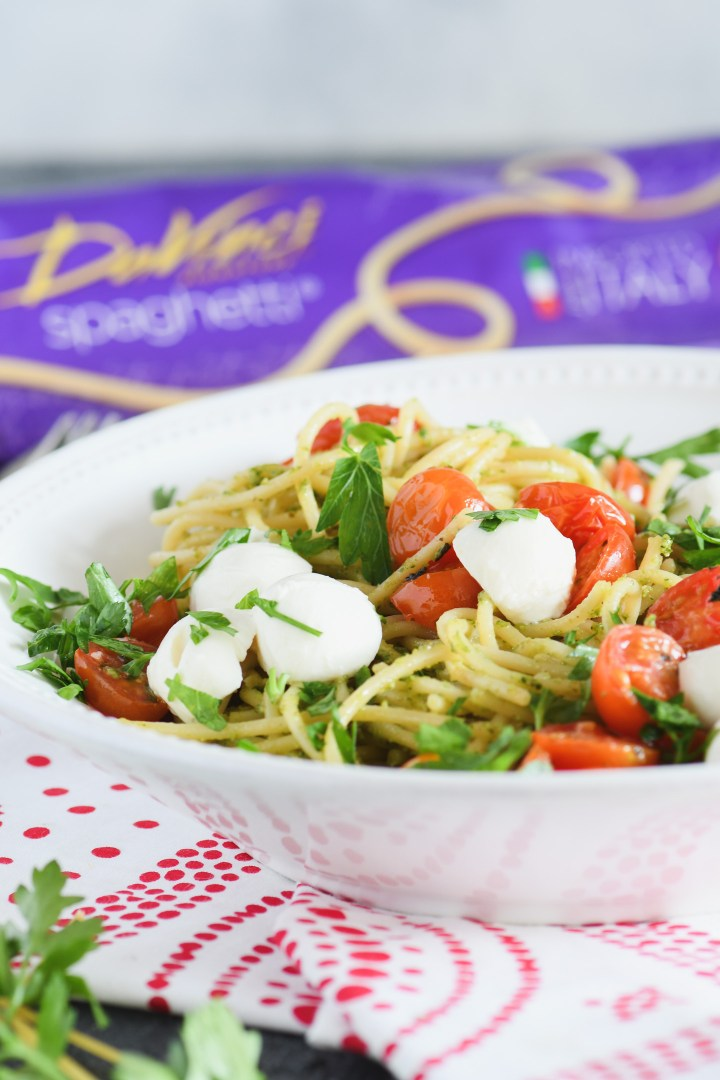 Garden fresh flavor from roasted tomatoes give you a great of end of season pasta dish