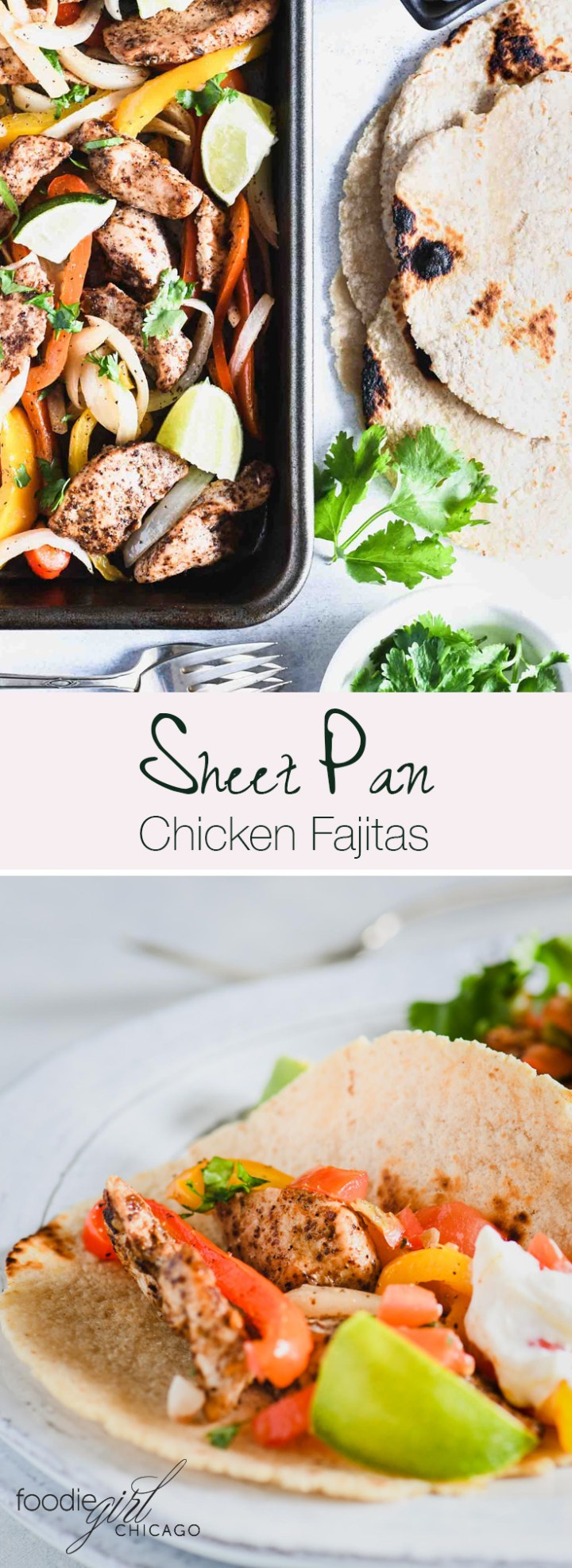 These sheet pan chicken fajitas are easy and healthy – what more could you ask for in a weeknight meal?!
