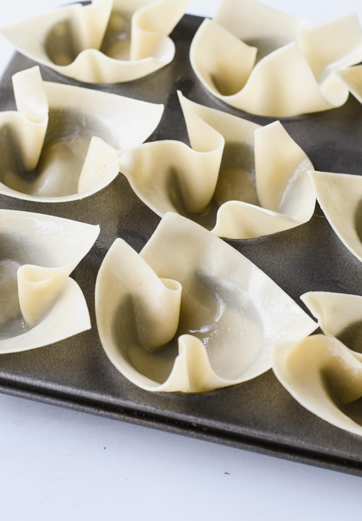 Wonton Taco Cups before being baked