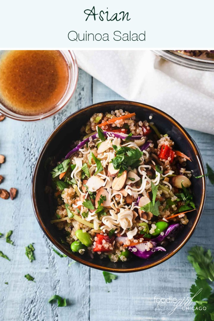 This recipe combines the protein power of quinoa with some tasty Asian flavors for a great vegetarian salad.  Add some chicken and you've got an even more protein-packed meal!  Add this to your weekly meal prep for an easy packable lunch or a quick & healthy weeknight dinner.