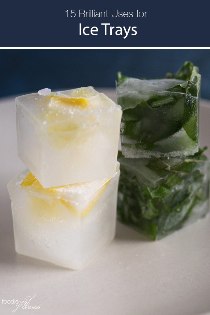 Stacks lemon rind and herb ice cubes