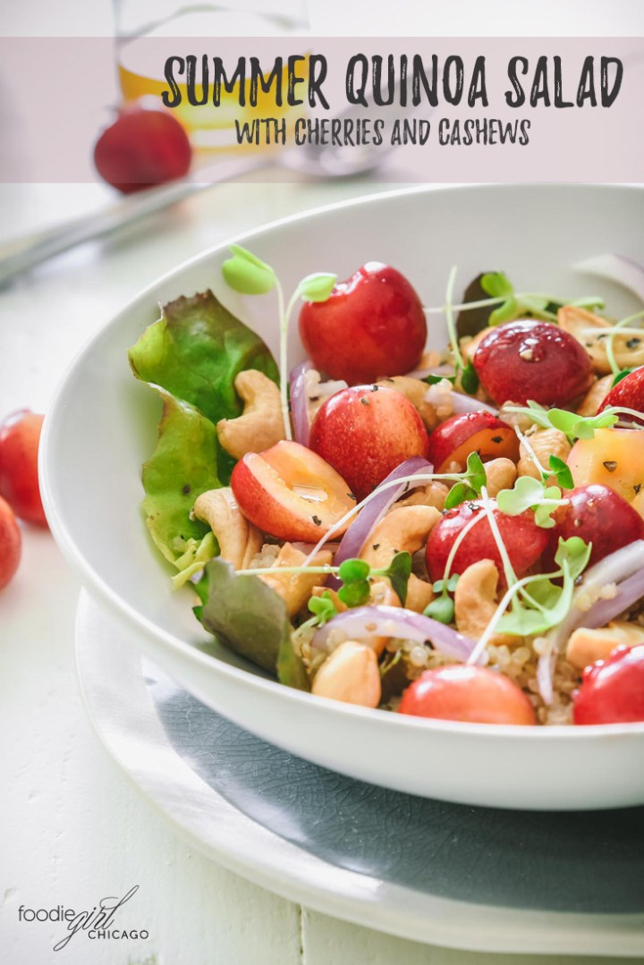 It's cherry season! This summer quinoa salad is a great way to highlight the sweetness of these bright red cherries. It comes together quickly and makes a great lunch or a side dish for a light summer dinner.