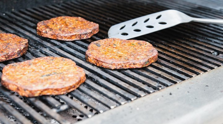 Veggie burgers on the grill