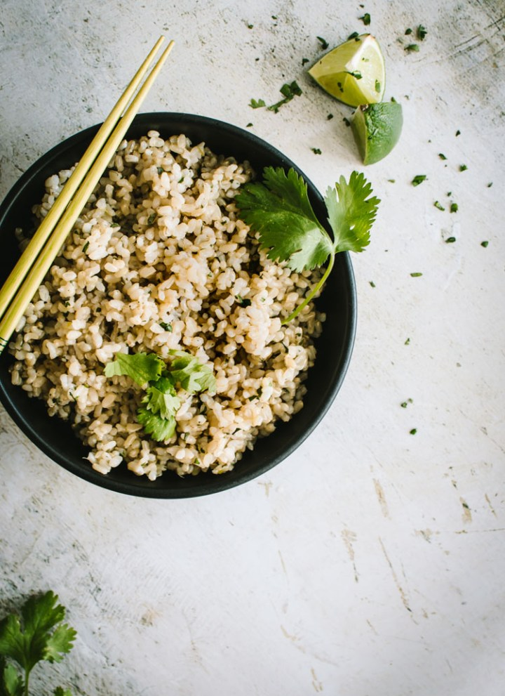 Cilantro Lime Brown Rice in a black bowl