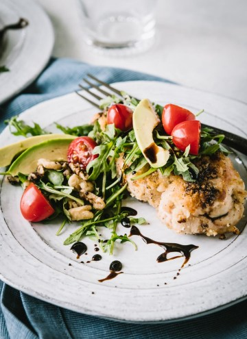 Baked Chicken Milanese with Arugula, Tomato & Avocado