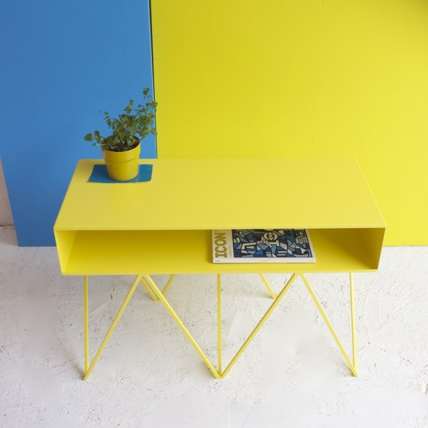 Modern wire sidetable yellow