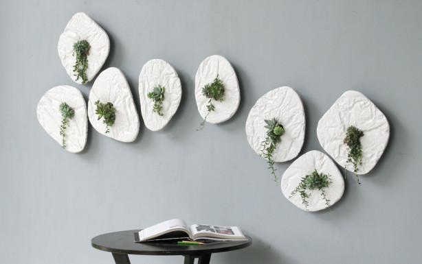 Concrete wall mounted planters