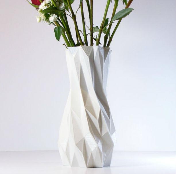 Tall Faceted Flower Vase