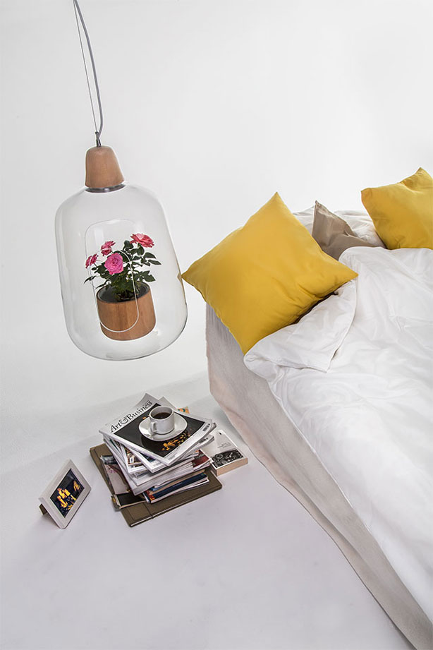lamp doubles as a planter