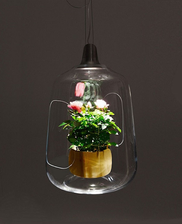 lamp doubles as a planter