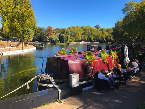 Waterside Cafe on canal in London's Little Venice.