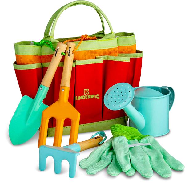 kids_gardening_set_metal_tools_tote_watering_can