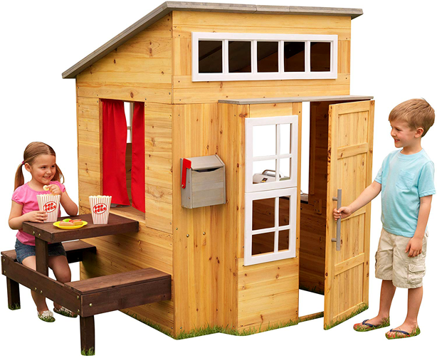 kids_wooden_playhouse_with_benches_mailbox_and BBQ_grill