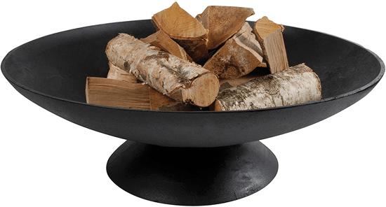 large modern black iron patio fire bowl