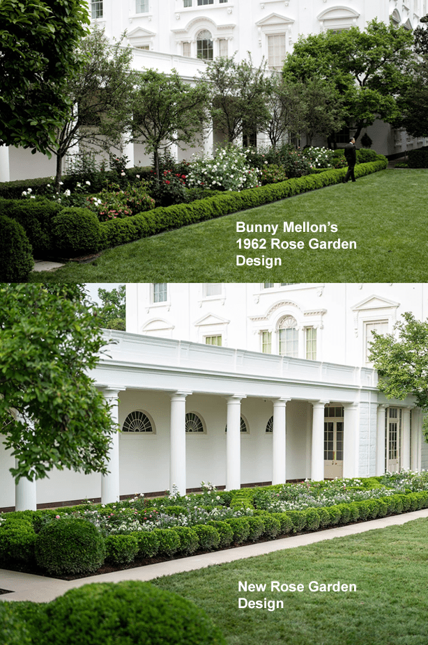 Bunny Mellon_white_house_rose_garden_before_and_after