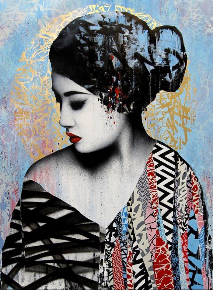 """Affectation"" acrylic paint, screen print, spray paint & ink on linen, 40"" x 60"