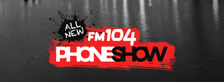 FM104 Phoneshow logo on dark background