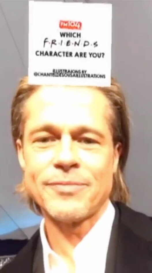 Brad Pitt using which Friends character instagram Filter