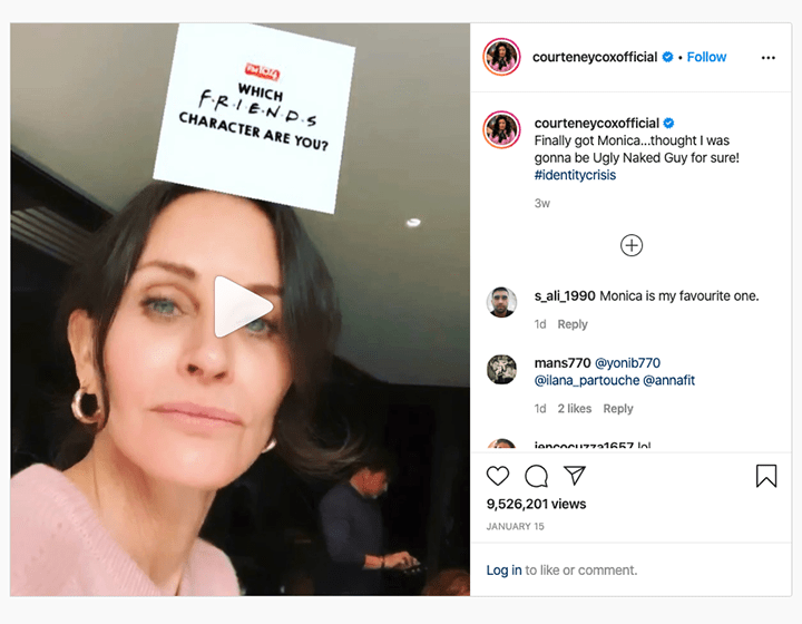 Countney Cox Instrgram showing Friends filter