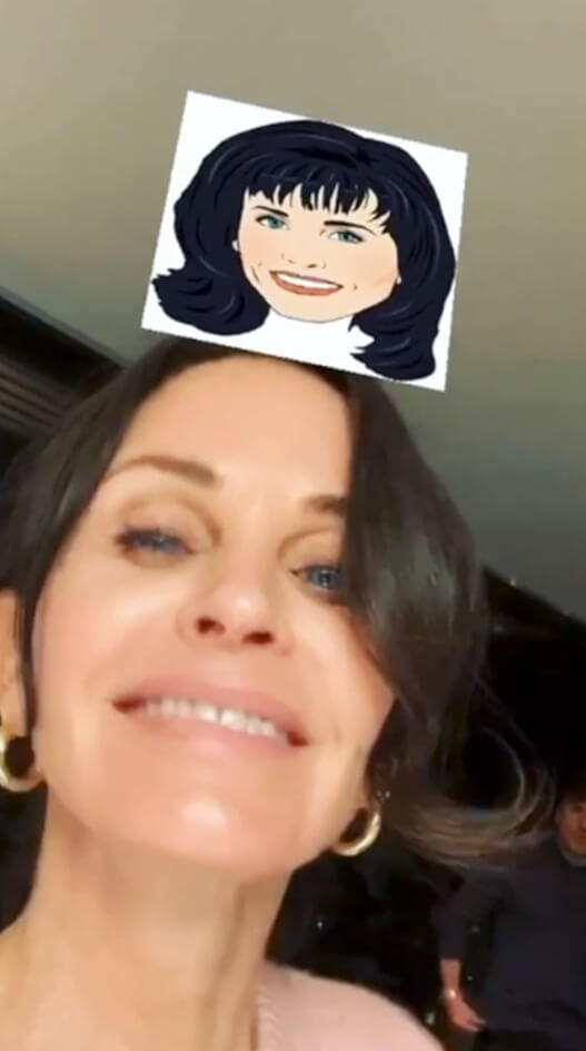 Courtney Cox using which Friends character instagram Filter