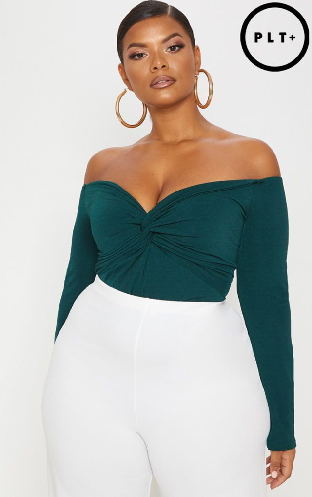 STYLECASTER | Going Out Tops | PLUS SLINKY EMERALD GREEN TWIST FRONT BARDOT BODYSUIT
