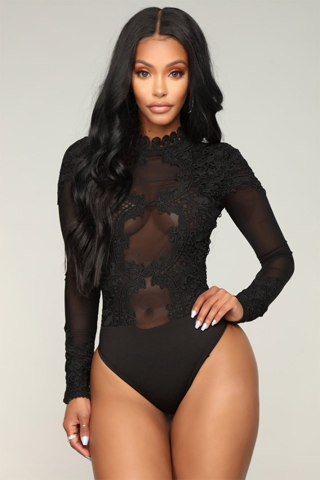 STYLECASTER | Going Out Tops | In My Feelings Embroidered Bodysuit - Black