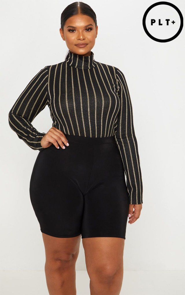 STYLECASTER | Going Out Tops | PLUS BLACK STRIPED TEXTURED GLITTER HIGH NECK BODYSUIT