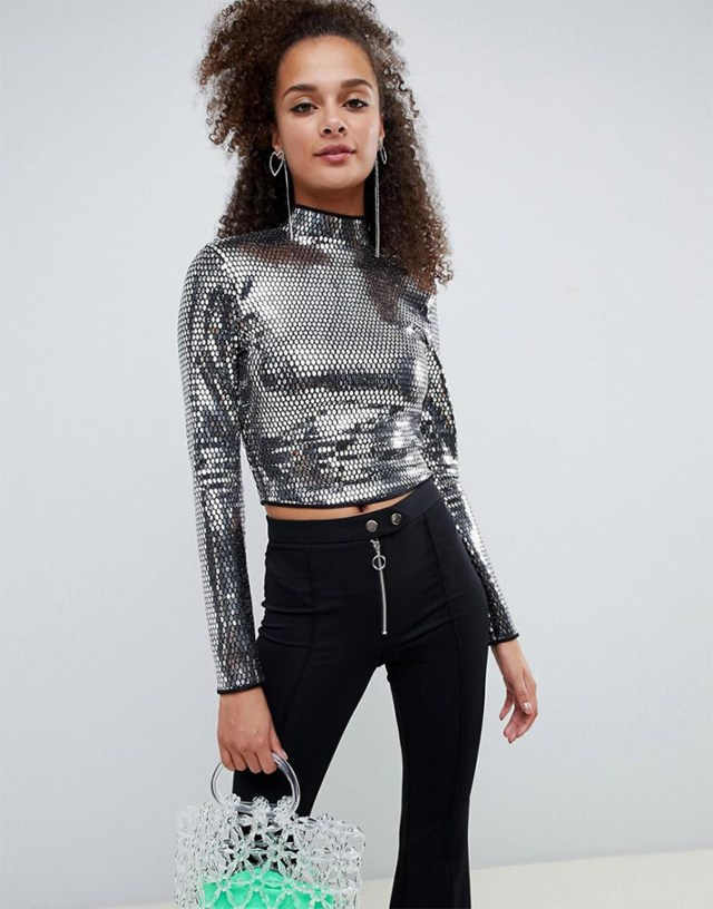 STYLECASTER | Going Out Tops | Bershka mirror high neck long sleeved top