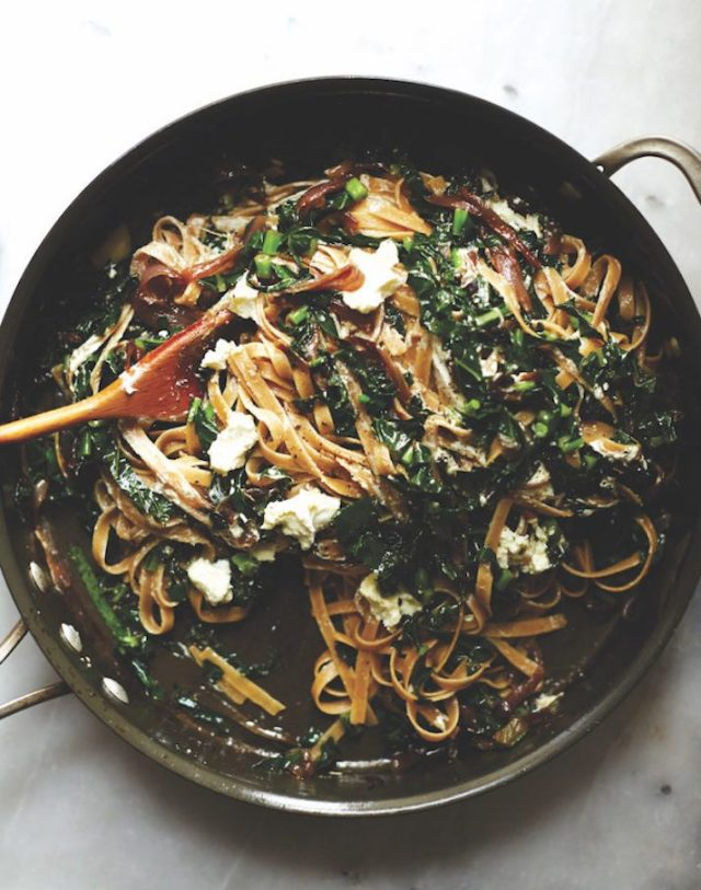 STYLECASTER | 15 Veggie-Packed Winter Pastas That Are Comforting and Good For You | Fettuccine with Kale, Caramelized Onion, and Goat Cheese