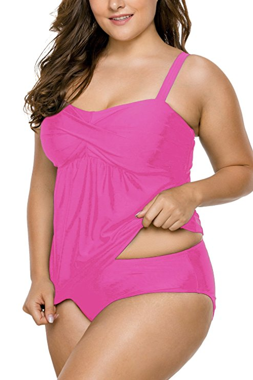 Plus Size Two Pieces Tankini Bikini Set