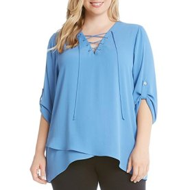 Plus Hi-Low Lace Up Blouse