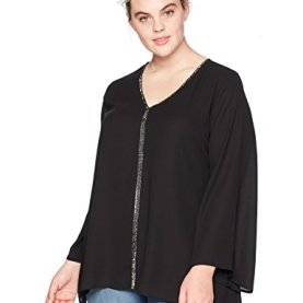 Plus Size Sparkle Flare Sleeve Top