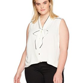 Plus Size Sleeveless Tie Neck Top