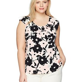 Floral Cap Sleeve Pleat Neck Ity Top