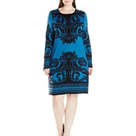 Printed Crew Neck Jacuard Dress