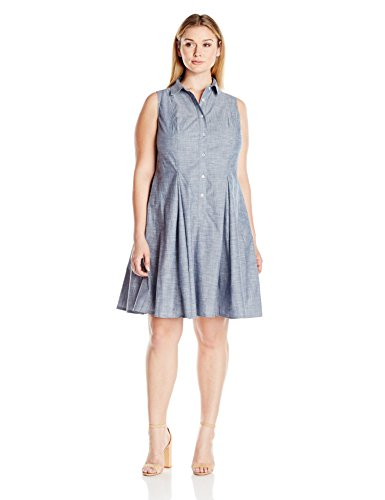 Women\'s Plus Size Button Up Chambray Full Skirt Shirt Dress